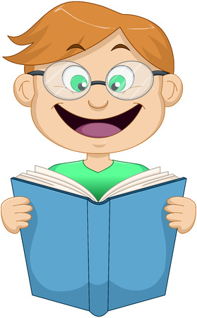 Vector illustration of a red headed girl reading a book