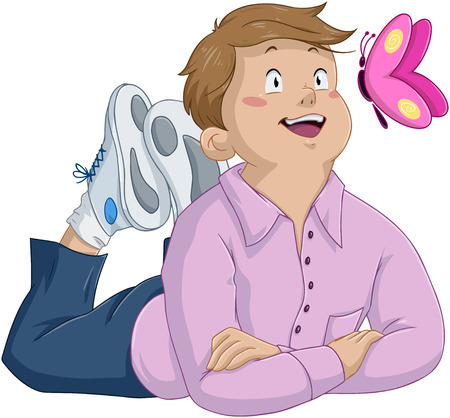 Vector illustration of an innocent boy laying and looking at butterfly  Illustration