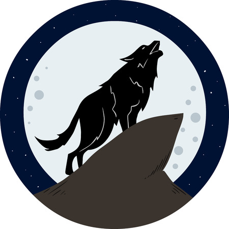 Vector illustration of a wolf howling to the moon at night