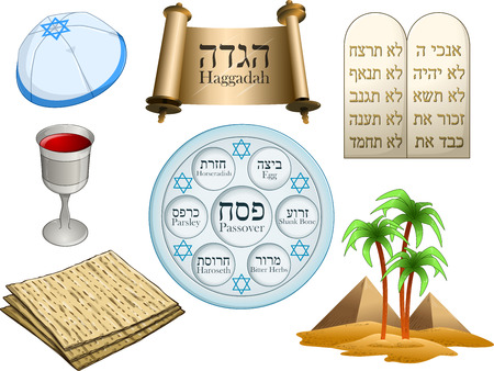 Vector illustration of objects related to the Jewish holiday Passover.  Illustration