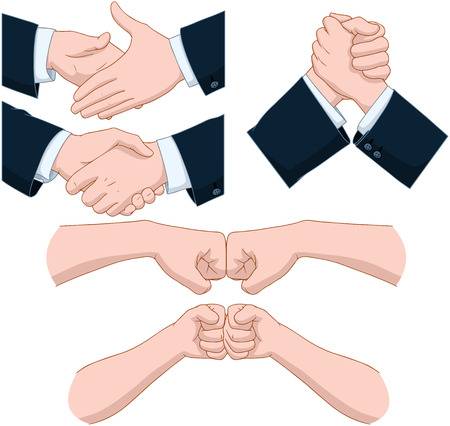 bump: Vector illustrations pack of various hand shakes and fist bumps  Illustration