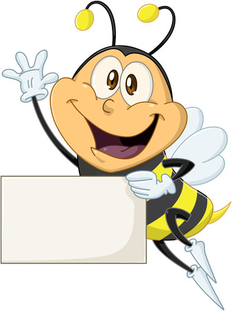 illustration of a cute flying bee holds sign and waves