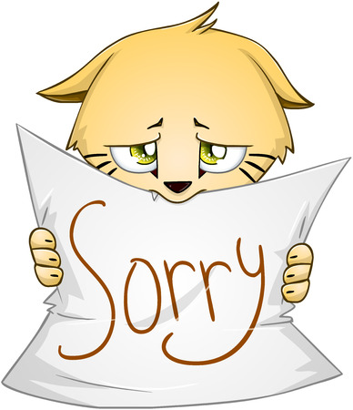Vector illustration of a cute kitten holds sign of apology