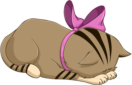 apology: illustration of a cute kitten bows in apology