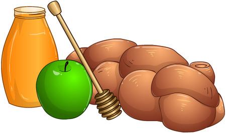 simchat torah: Vector illustration of honey jar apple and chala for rosh hashanah