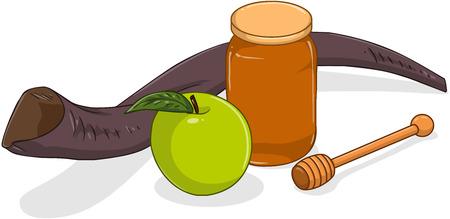 Vector illustration of shofar apple and honey jar for yom kippur