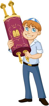 Ilustración vectorial de un niño judío tiene la Torá de bar mitzvah