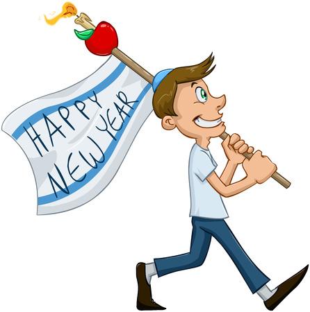 Vector illustratie van de joodse vent houdt Gelukkig Nieuwjaar vlag voor Rosj Hasjana