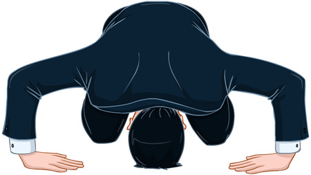 apology: Vector illustration of a man in suit bows in apology