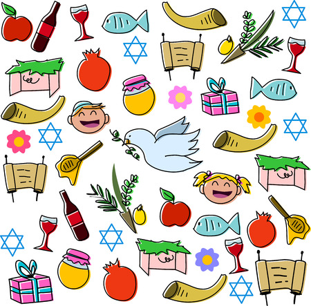 simchat torah: Vector illustration pack of jewish holidy symbols for rosh hashanah