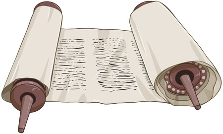 illustration of an open torah scroll with text Ilustração