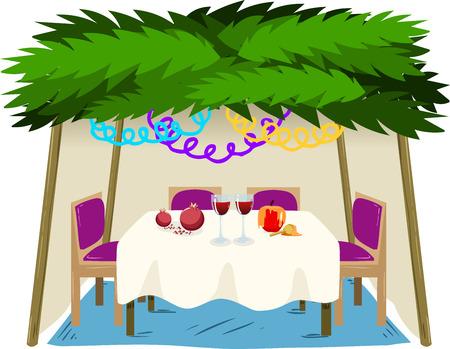 sukkot: illustrazione di Sukkah con tavolo ornamenti con il cibo per la festa ebraica di Sukkot.