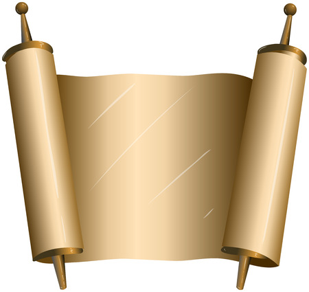 jewish new year: illustration of an open torah scroll Illustration