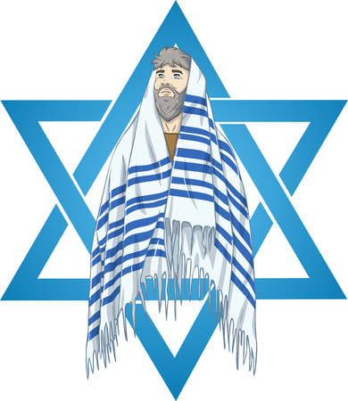 simchat torah: Vector illustration of Rabbi with talit and star of david