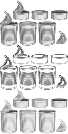様々 な缶詰にされた食糧のベクトル イラスト パック缶色とラインアート。