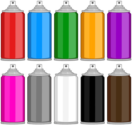 paint tin: Vector illustration pack of various colored spray cans.