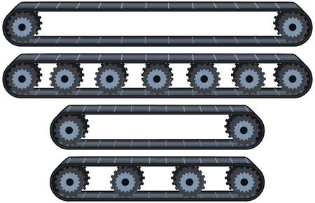 Vector illustration pack of four types of conveyor belt tracks with wheels. Vectores