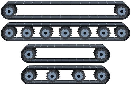 Vector illustration pack of four types of conveyor belt tracks with wheels. Illustration