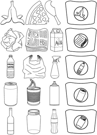trash can: Vector illustration pack of organic paper plastic aluminium and glass items for recycling. Illustration