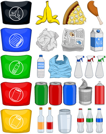 Vector illustration pack of organic paper plastic aluminium and glass items for recycling. Ilustração