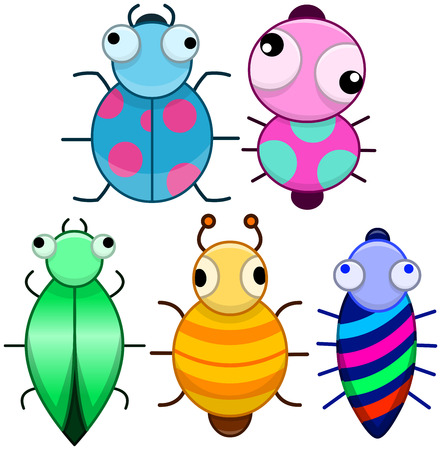 Vector illustration pack of cute colourful cartoonic little bugs. Vector