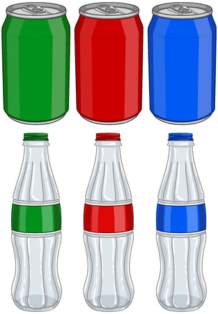 Vector illustration pack of red green and blue soda cans and glass bottles. Ilustração