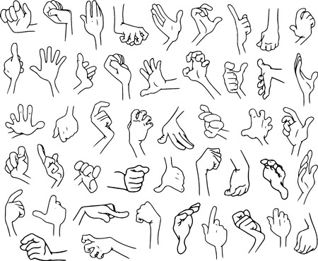 Vector illustrations lineart pack of cartoon hands in various gestures.