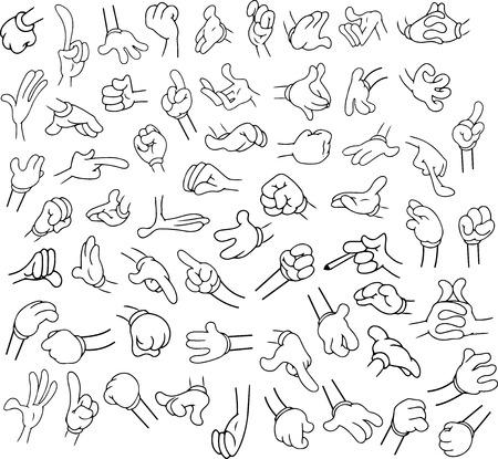 Vector illustraties Lineart pak cartoon handen in verschillende gebaren. Stock Illustratie