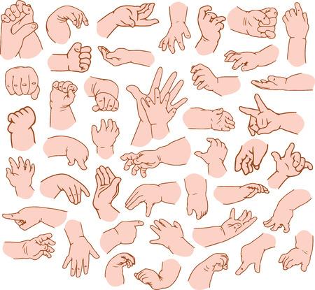 puños cerrados: Ilustraciones Vector pack de las manos del bebé en diversos gestos.