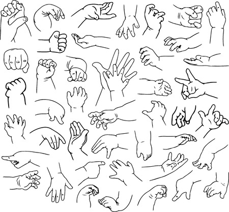 closed fist sign: Vector illustrations pack of baby hands in various gestures.