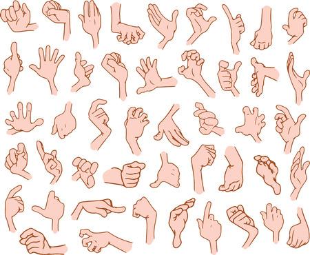 illustrations vectorielles paquet de mains de dessins animés dans divers gestes.