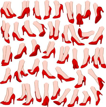 Vector illustraties pak van de vrouw voeten dragen rode hoge hak in verschillende gebaren.