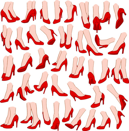 ankles sexy: Vector illustrations pack of woman feet wearing red high heel in various gestures.