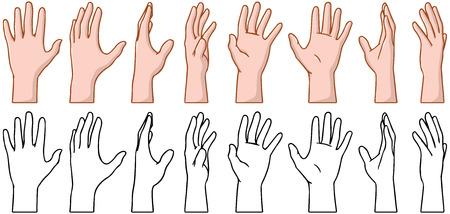 人間の手のひらの 360 度回転のベクトル イラスト パック。