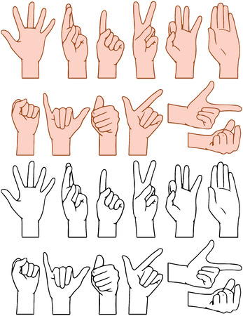 Vector illustrations pack of universal gestures of hands  イラスト・ベクター素材