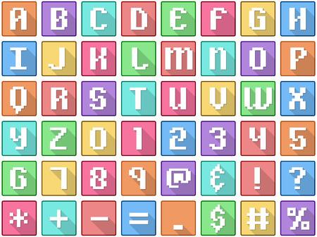 Vector illustration set of alphabet numbers symbols square flat icons in retro style. Vettoriali