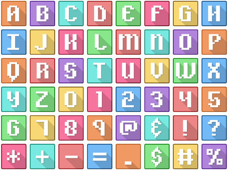 Vector illustration set of alphabet numbers symbols square flat icons in retro style. Vectores
