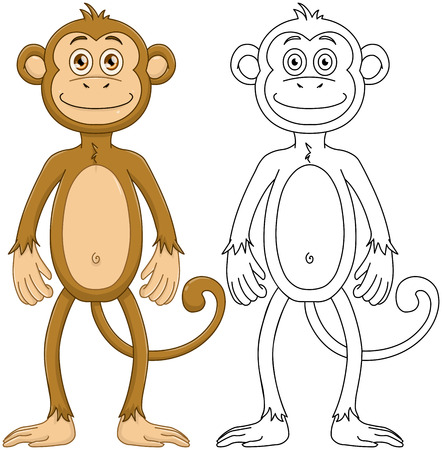 lineart: Vector illustration set of a cute monkey standing with lineart. Illustration