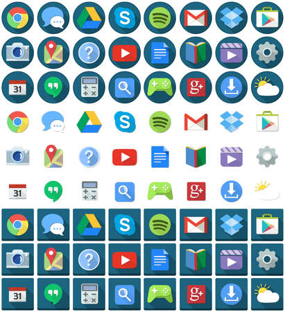 skype: Vector illustration set of android applications flat icons round and square. Illustration