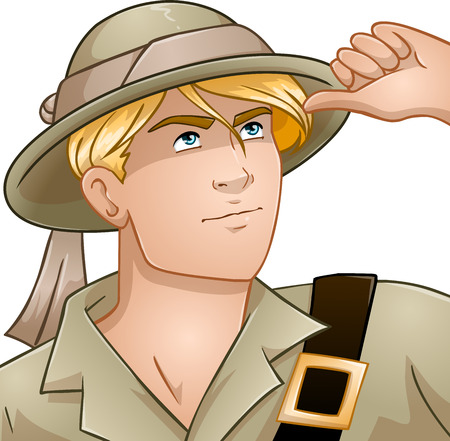 archaeologist: Vector illustration of a blond nature explorer looking up. Illustration