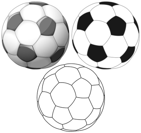 soccer balls: Vector illustration set of soccer ball colored black and white and outline.
