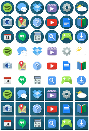 application button: Vector illustration set of applications flat icons round and square.