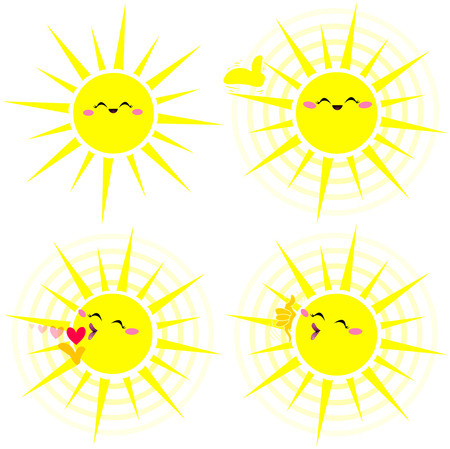 hot summer: A vector illustration pack of a shiny happy yellow sun in various poses. Illustration