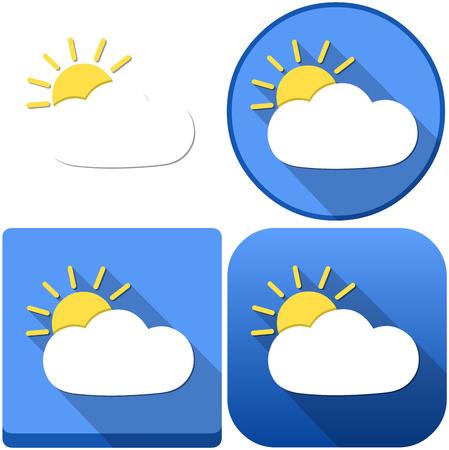 meteo: Illustrazione vettoriale confezione di una nuvola e sole come il meteo e le icone Vettoriali