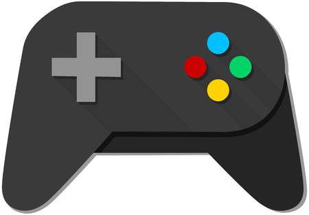 ps: A vector illustration of a black joystick with colorful buttons.
