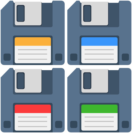 magnetic clip: A vector illustration of an old computer floppy disk and colorful labels yellow blue red and green.