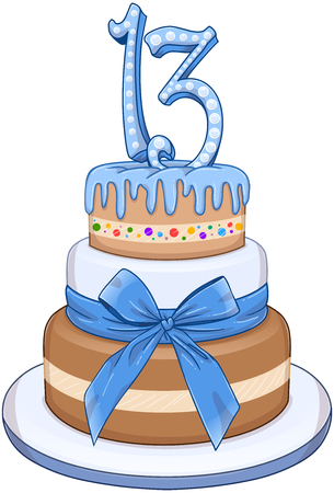 tiers: illustration of 3 tiers blue cake with the number 13 on top