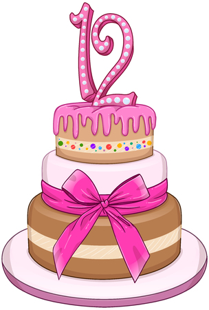 tiers: illustration of 3 tiers pink cake with the number 12 on top