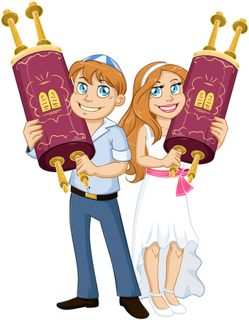 bar mitzvah: illustration of Jewish boy and girl holding the Torah for Bar