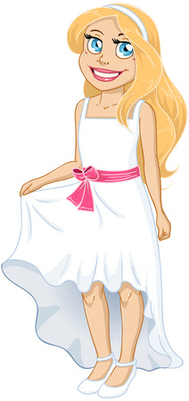 mitzvah: illustration of a pretty girl in white dress. Illustration